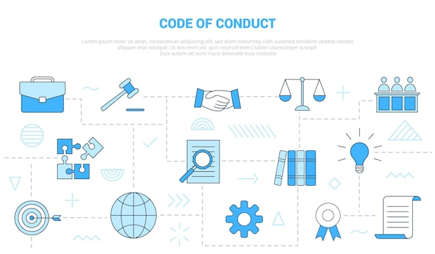 Verhaltenskodex-konzept mit icon-set-vorlagenbanner Premium Vektoren