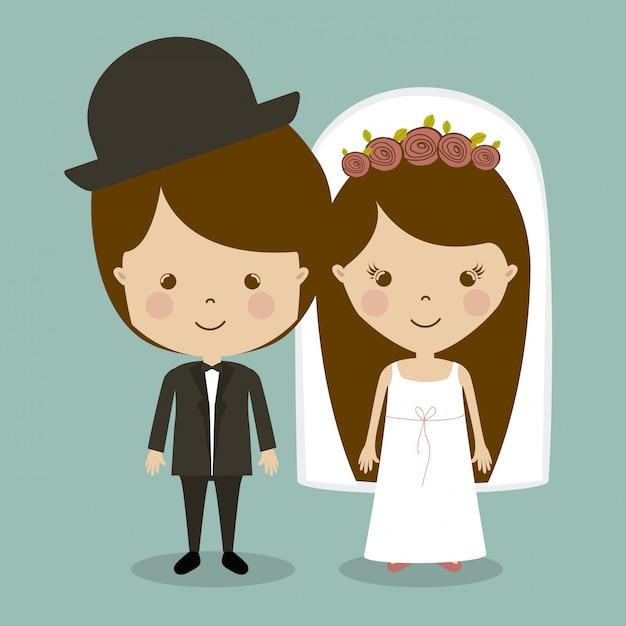 Verheirateter entwurf Premium Vektoren