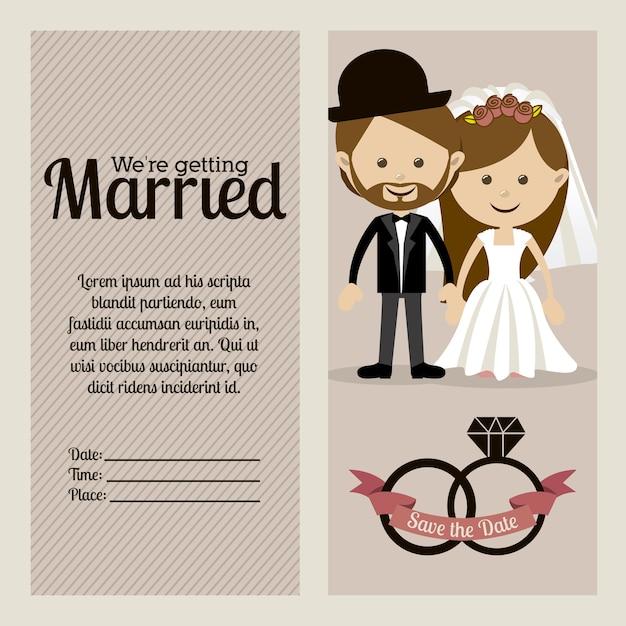 Verheiratetes design Premium Vektoren