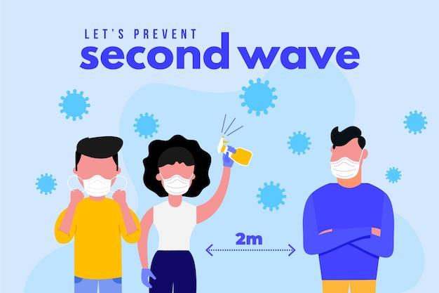 Verhindern sie die zweite welle des coronavirus Kostenlosen Vektoren