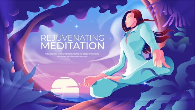 Verjüngende meditation Premium Vektoren
