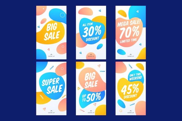Verkäufe instagram geschichten sammlung Kostenlosen Vektoren