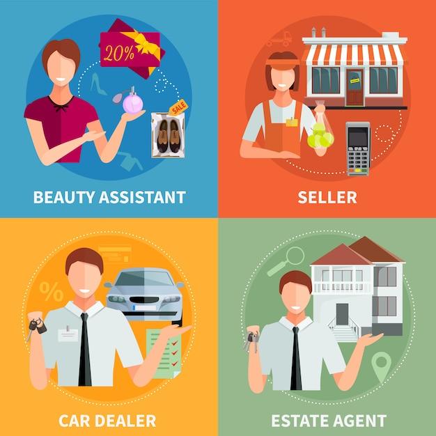 Verkäufer 2x2 konzept Kostenlosen Vektoren