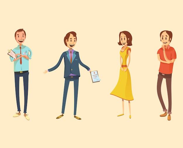 Verkäuferin retro cartoon set Kostenlosen Vektoren