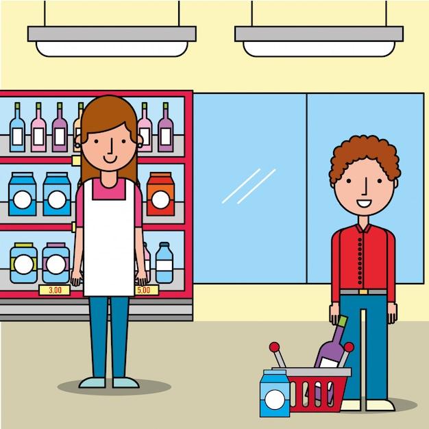 Verkäuferinsupermarkt-kundenmann mit einkaufskorb Kostenlosen Vektoren