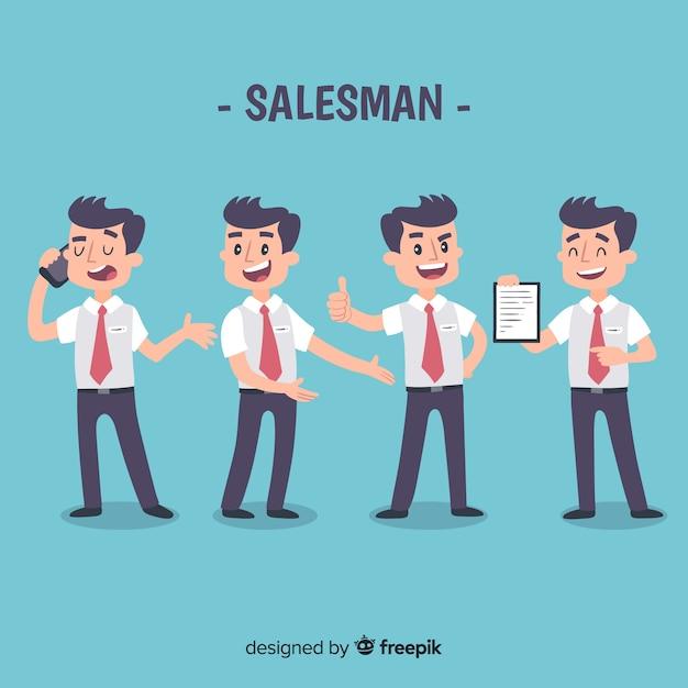 Verkäuferkollektion in verschiedenen positionen Kostenlosen Vektoren