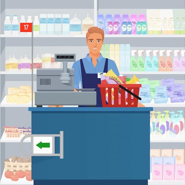 Verkäufermann-kassierer, der an der kasse im supermarkt steht. Premium Vektoren