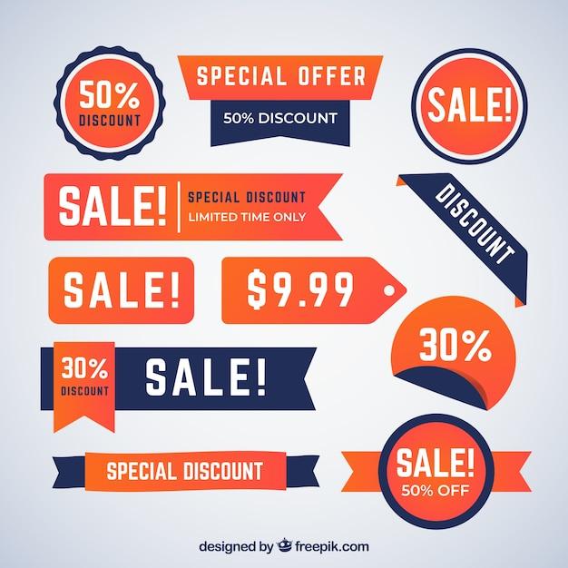 Verkauf abzeichen sammlung in farbverläufen Kostenlosen Vektoren