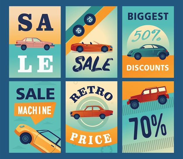 Verkauf banner designs mit verschiedenen autos. Kostenlosen Vektoren