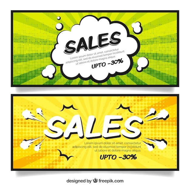 Verkauf banner im comic-stil Kostenlosen Vektoren