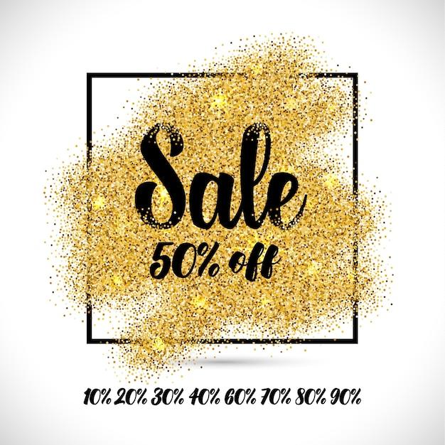 Verkauf banner mit goldpartikeln Kostenlosen Vektoren
