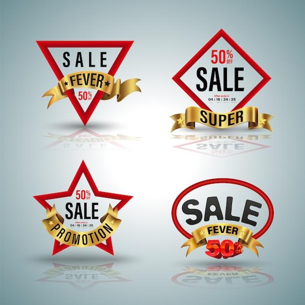 Verkauf banner set rote form und goldband illustration für promotion element poster werbung. Premium Vektoren