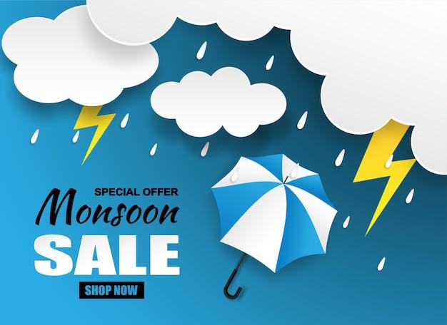 Verkauf der monsunzeit Premium Vektoren