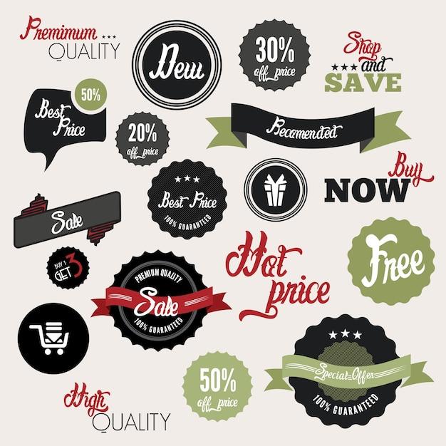 Verkauf etiketten Premium Vektoren