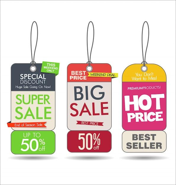 Verkauf etikettiert bunte moderne sammlung Premium Vektoren