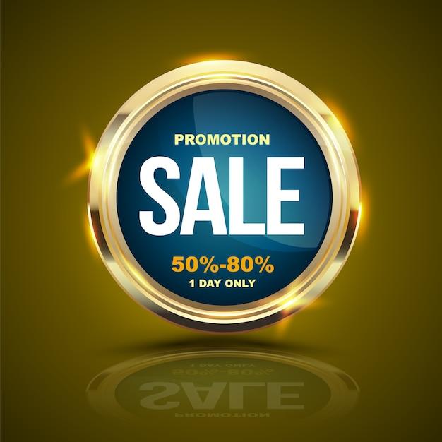 Verkauf-fahnengoldkreis für förderungswerbung. Premium Vektoren