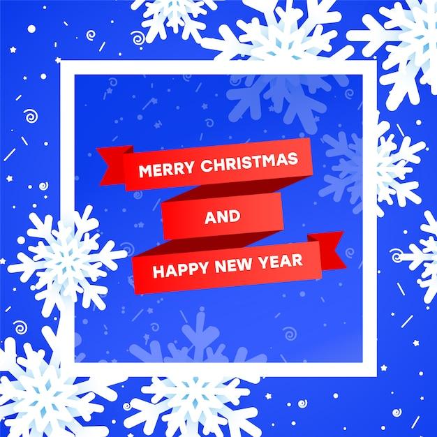 Verkauf-fahnenschablone der frohen weihnachten mit weihnachtselement. rotes band der steigung, realistische schneeflocken 3 d auf einem blau mit einem weißen rahmen. Premium Vektoren