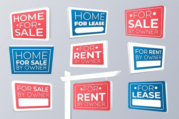 Verkauf immobilienschilder gesetzt Premium Vektoren
