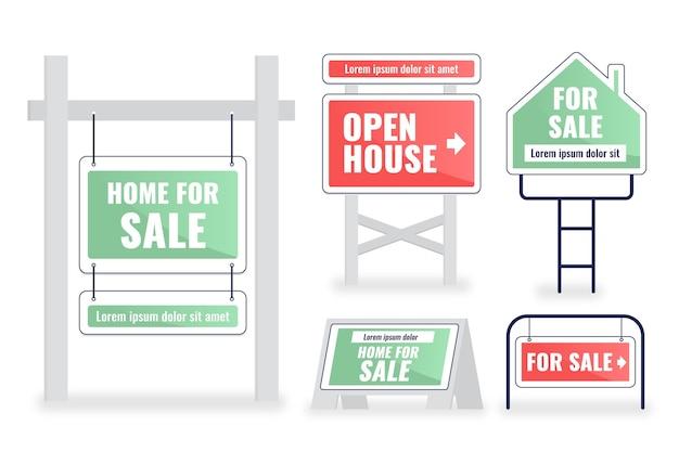 Verkauf immobilienschilder packen Kostenlosen Vektoren