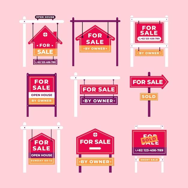 Verkauf immobilienschilder Kostenlosen Vektoren