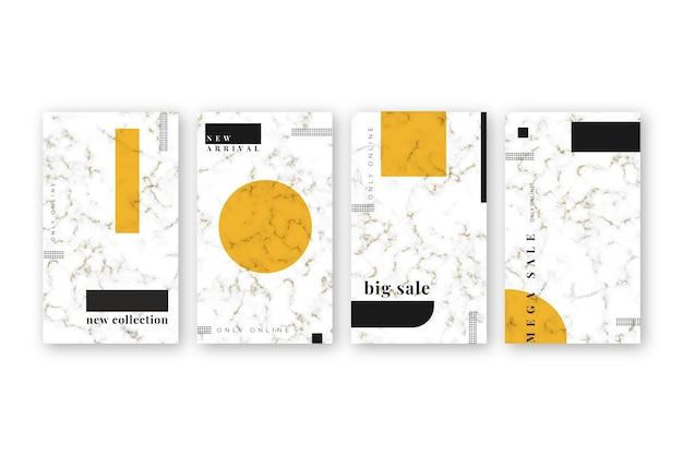 Verkauf instagram geschichten sammlung im marmor-stil Kostenlosen Vektoren