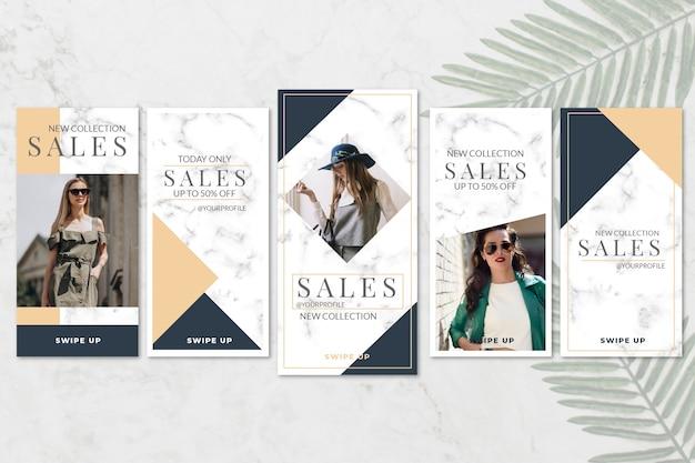 Verkauf instagram geschichten sammlung im marmorstil Kostenlosen Vektoren