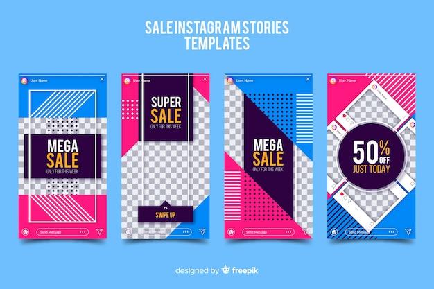 Verkauf instagram geschichten vorlagen sammlung Kostenlosen Vektoren
