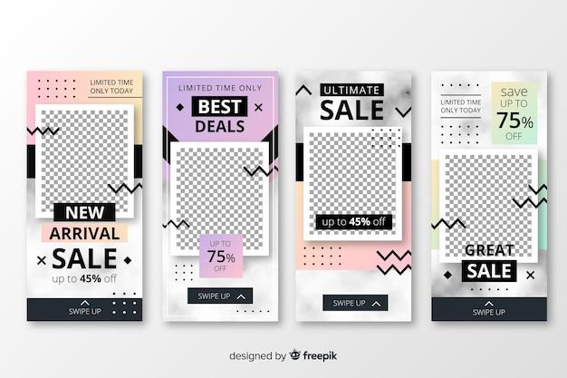 Verkauf instagram geschichten vorlagensatz Kostenlosen Vektoren