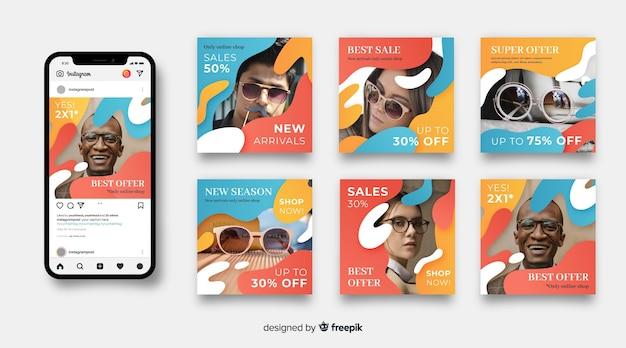 Verkauf instagram pfosten eingestellt mit foto Kostenlosen Vektoren