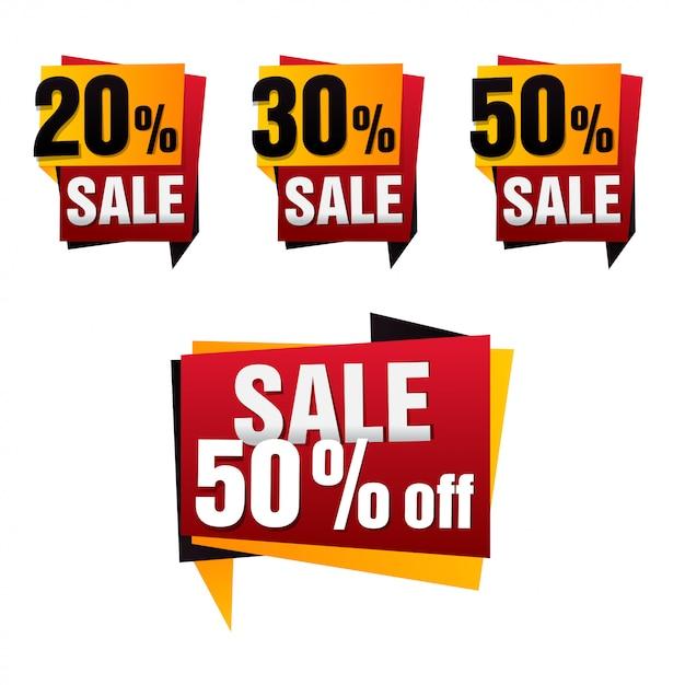 Verkauf papier banner set. verkaufshintergrund. großer verkauf. verkaufstag. verkaufsplakat. sonderangebot Premium Vektoren