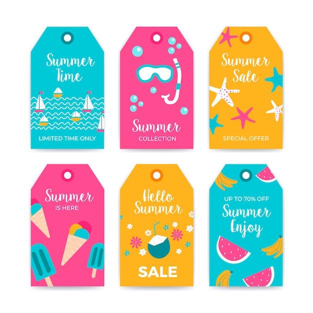 Verkauf sommer label kollektion mit sommer elementen Kostenlosen Vektoren