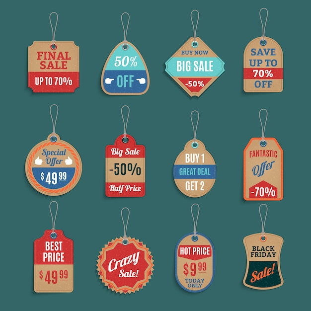 Verkauf-tags-set Kostenlosen Vektoren