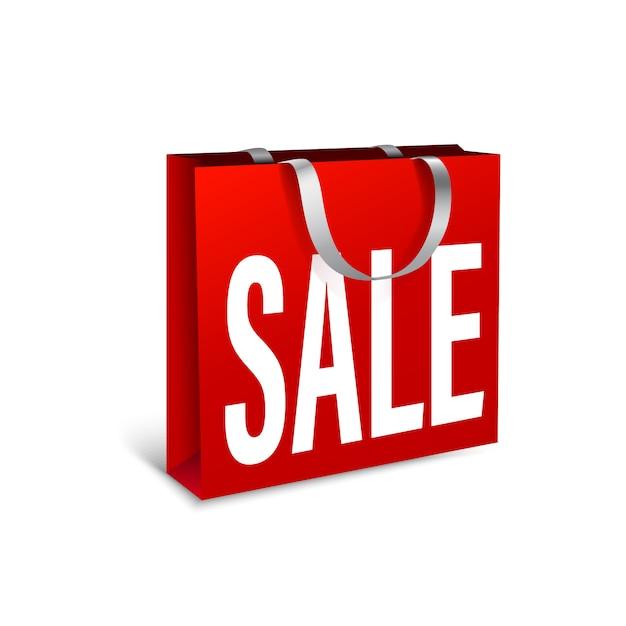 Verkauf von roten papiertüten. verpackungsstapel für einkäufe pack für einkäufe mit weißen seilgriffen für design oder text. hochauflösende 3d-illustration. auf weißem hintergrund isoliert. Premium Vektoren
