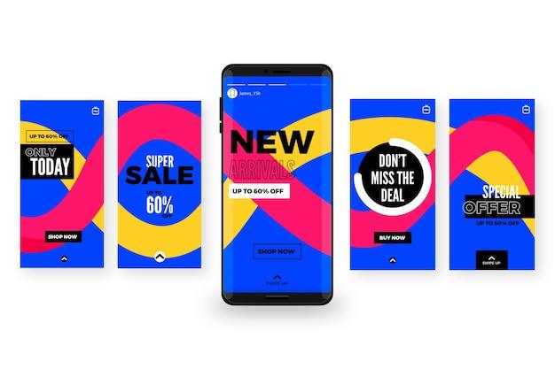 Verkaufs instagram geschichten festgelegt Kostenlosen Vektoren