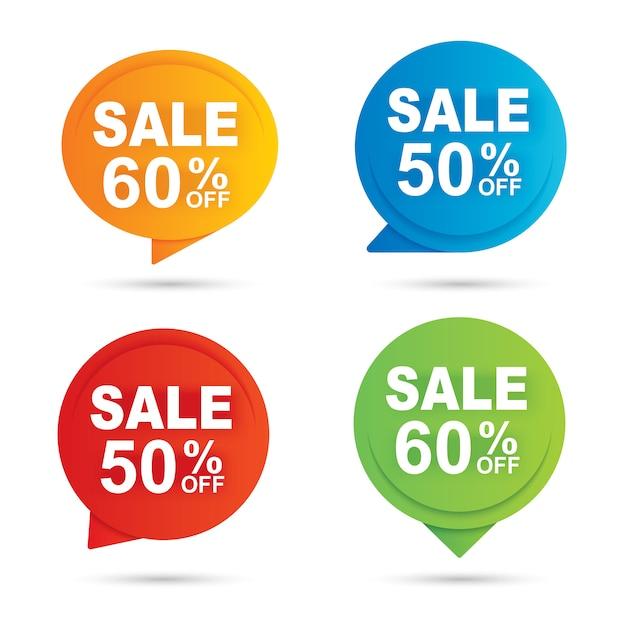 Verkaufs-kreisfahne multi farbpapier-zusammenfassungshintergrund Premium Vektoren
