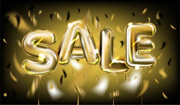 Verkaufs-plakat durch goldene folienballons auf schwarzem Premium Vektoren