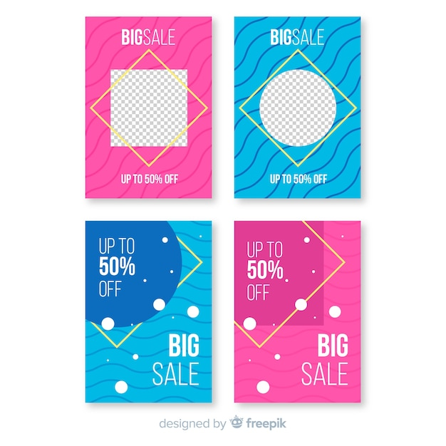 Verkaufs-social media-fahne mit fotopaket Kostenlosen Vektoren