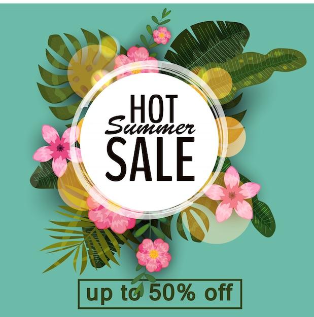 Verkaufs-sommerfahne, plakat mit palmblättern, dschungelblatt und tropischen blumen Premium Vektoren