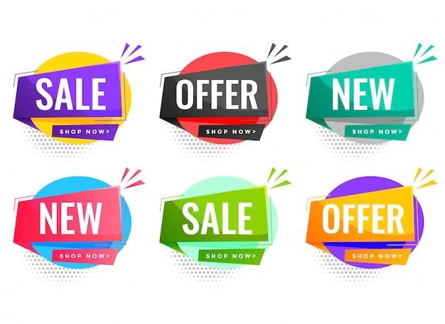 Verkaufs- und angebotsetiketten für unternehmensförderung Kostenlosen Vektoren