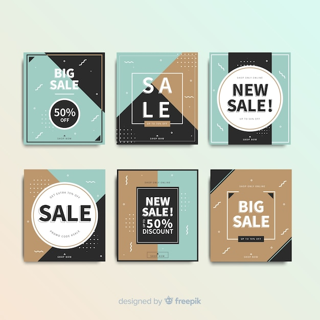 Verkaufs-web-banner für social media-sammlung Kostenlosen Vektoren