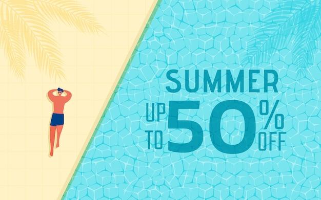 Verkaufs-werbungsdesign der sommerzeit heißes mit mann im swimmingpool. Premium Vektoren