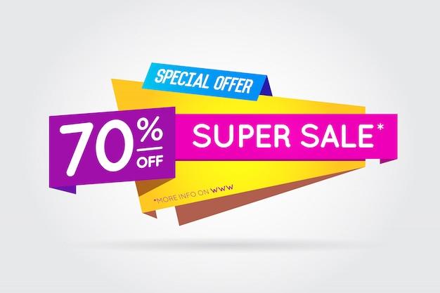 Verkaufs-zeichen-fahnen-plakat bereit zum web und zum druck. . super, mega, riesenangebot mit sonderangebot Premium Vektoren