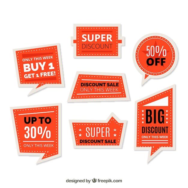 Verkaufsetikett gesetzt Kostenlosen Vektoren