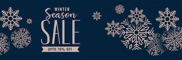 Verkaufsfahne der frohen weihnachten mit schneeflockendekoration Kostenlosen Vektoren