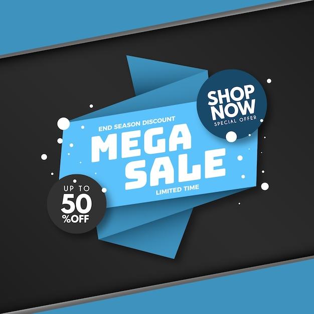 Verkaufsfahne im origamiartkonzept Kostenlosen Vektoren