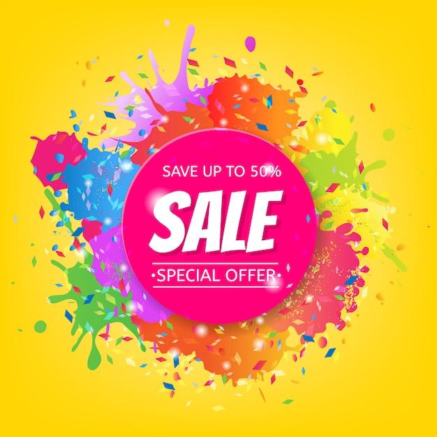Verkaufsfahne mit farbenfleck Premium Vektoren
