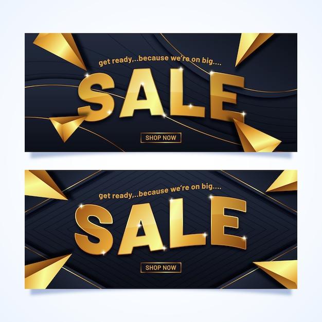 Verkaufsfahne mit goldenen buchstaben Kostenlosen Vektoren
