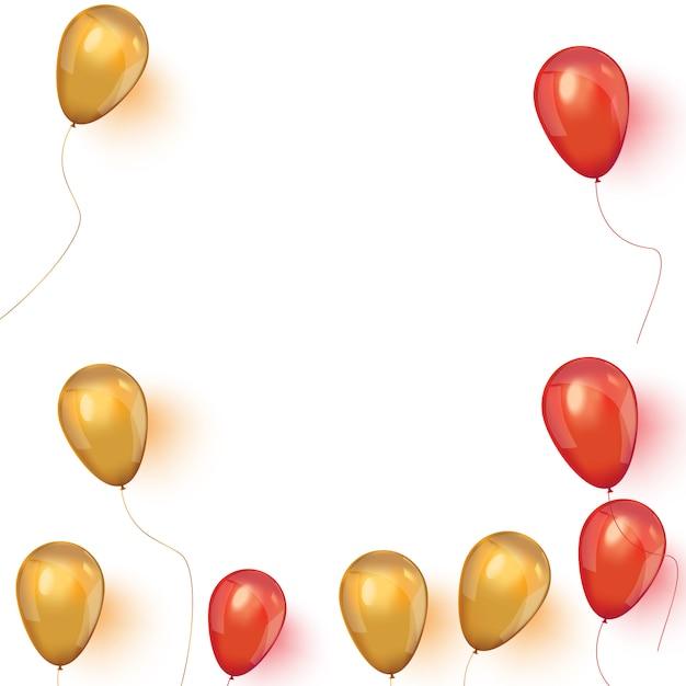 Verkaufsfahne mit schwebenden luftballons der rosa und der gold. Premium Vektoren