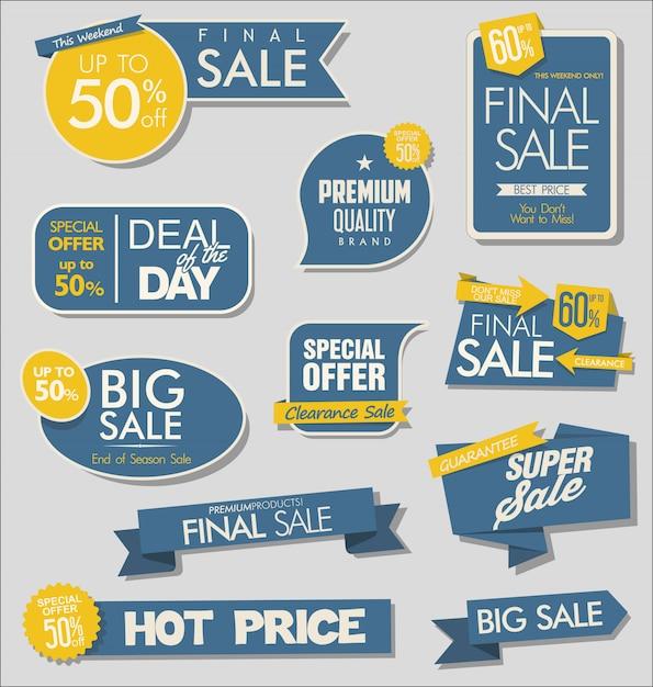 Verkaufsfahne und sonderangebot etikettiert sammlung Premium Vektoren