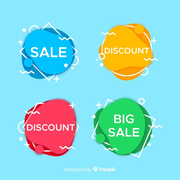 Verkaufsfahnen im memphis-stil Kostenlosen Vektoren